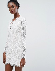 Кружевное платье мини с длинными рукавами Endless Rose - Белый