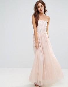 Платье макси из тюля с цветочной аппликацией на лифе Little Mistress - Кремовый