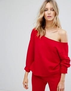 Свитшот с открытыми плечами и необработанными краями ASOS LOUNGE - Красный