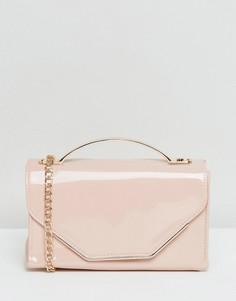 Лакированная сумка через плечо New Look - Розовый