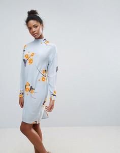 Свободное платье с высоким воротом Vila - Синий
