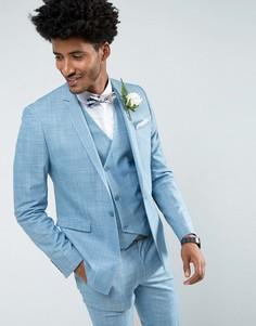 Голубой приталенный пиджак с цветочным принтом на подкладке ASOS Wedding - Синий
