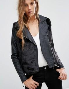 Байкерская куртка с искусственным мехом Urban Bliss - Черный