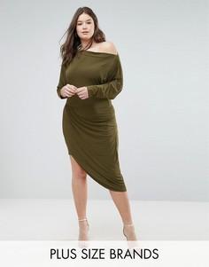 Асимметричное платье с запахом Club L - Зеленый