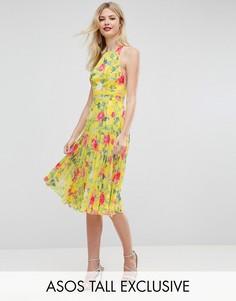 Плиссированное приталенное платье миди с цветочным принтом ASOS TALL - Синий