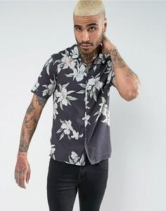 Рубашка с коротким рукавом и цветочным принтом AllSaints - Черный