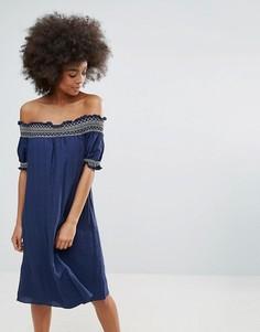 Летнее платье-бандо c вышивкой Darling - Синий