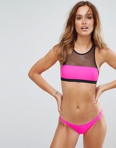Купальник-бикини с высоким воротом и сетчатыми вставками Pistol Panties - Розовый