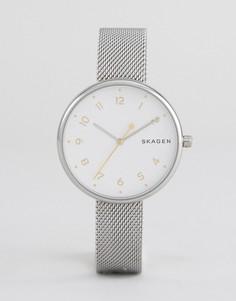 Серебристые часы с сетчатым браслетом Skagen - Золотой