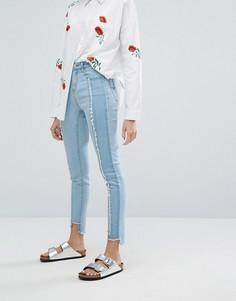 Зауженные джинсы с необработанными краями Neon Rose - Синий