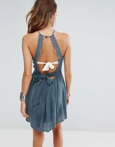Пляжное платье с ажурной отделкой Surf Gypsy - Синий