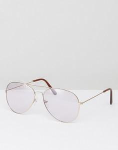 Солнцезащитные очки-авиаторы в оправе цвета розового золота с лиловыми стеклами 7X - Фиолетовый