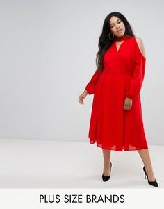 Платье миди с длинными рукавами и вырезом на груди и плечах Truly You - Красный