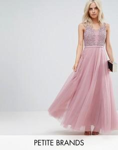Платье макси для выпускного с цветочной аппликацией Little Mistress Petite - Розовый