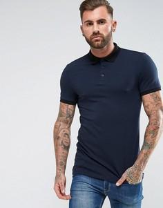 Облегающая футболка-поло в рубчик ASOS - Темно-синий