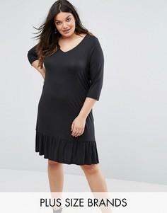 Трикотажное платье с оборкой Junarose - Черный