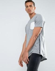 Длинная футболка с карманом и молнией Loyalty and Faith - Серый