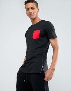 Длинная футболка с карманом и молнией Loyalty and Faith - Черный