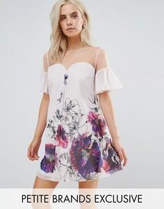 Платье А-силуэта с цветочным принтом и рукавами клеш Little Mistress Petite - Мульти