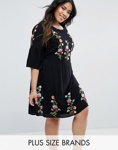 Приталенное платье с вышивкой Junarose Prairie - Черный