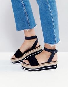 Кожаные сандалии-эспадрильи на платформе Sixtyseven - Черный
