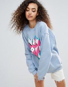 Оверсайз-свитшот с логотипом New Love Club - Синий