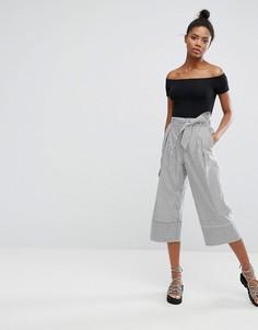 Широкие брюки в тонкую полоску Monki - Черный