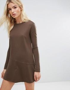 Платье-свитшот с рукавами клеш Daisy Street - Коричневый