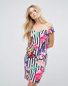 Полосатое платье миди с широким вырезом и цветочным принтом Paper Dolls - Мульти