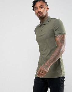 Трикотажная длинная облегающая футболка-поло ASOS - Зеленый