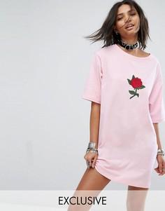 Платье-футболка с аппликацией розы Rokoko - Розовый