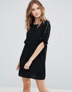 Свободное платье с завязками на рукавах Daisy Street - Черный