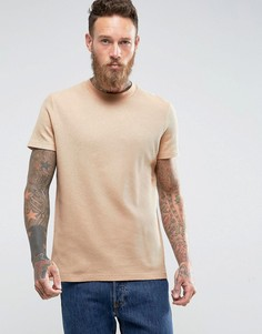 Бежевая фактурная футболка ASOS - Бежевый