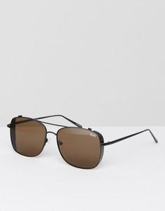 Коричневые квадратные солнцезащитные очки с планкой сверху Quay Australia - Коричневый