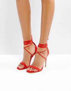 Сандалии на каблуке и шнуровке Missguided - Красный