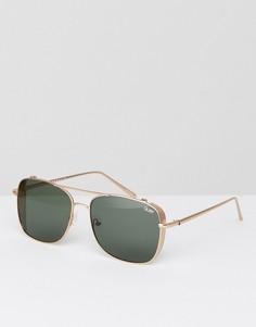 Золотистые квадратные солнцезащитные очки с планкой сверху Quay Australia - Золотой