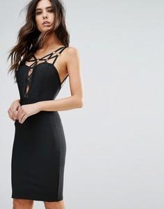 Бандажное платье с ремешками WOW Couture - Черный