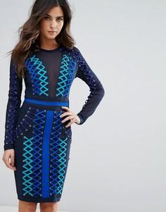 Бандажное платье со шнуровкой и сетчатыми вставками WOW Couture - Синий