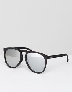 Круглые черные солнцезащитные очки с серебристыми зеркальными стеклами Quay Australia - Черный
