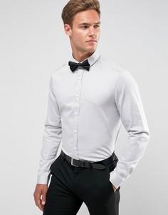 Серая зауженная рубашка из сатина ASOS Wedding - Серый