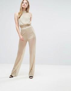 Плиссированные брюки Love - Золотой