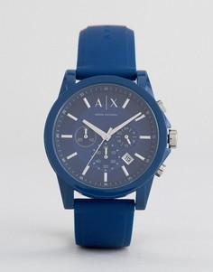 Часы с хронографом и синим силиконовым ремешком Armani Exchange AX1327 - Синий