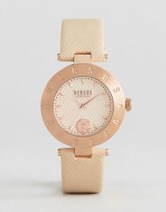 Часы с кожаным ремешком и логотипом Versus Versace S7714 - Бежевый