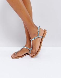 Кожаные сандалии с ремешком между пальцев Glamorous - Мульти