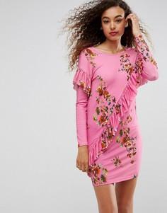 Платье-футболка с оборкой и цветочным принтом ASOS - Мульти