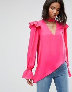 Асимметричная блузка с оборкой ASOS - Розовый