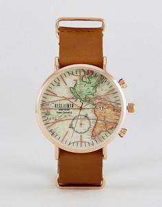 Часы с коричневым кожаным ремешком Reclaimed Vintage Inspired - Коричневый