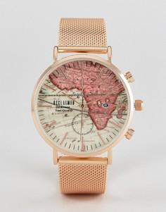 Золотисто-розовые часы с браслетом и картой на циферблате Reclaimed Vintage Inspired - Золотой