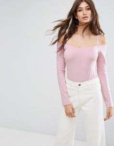 Боди с длинными рукавами и открытыми плечами ASOS - Розовый