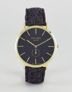 Часы с черным шерстяным ремешком и дополнительным циферблатом Reclaimed Vintage Inspired - Черный